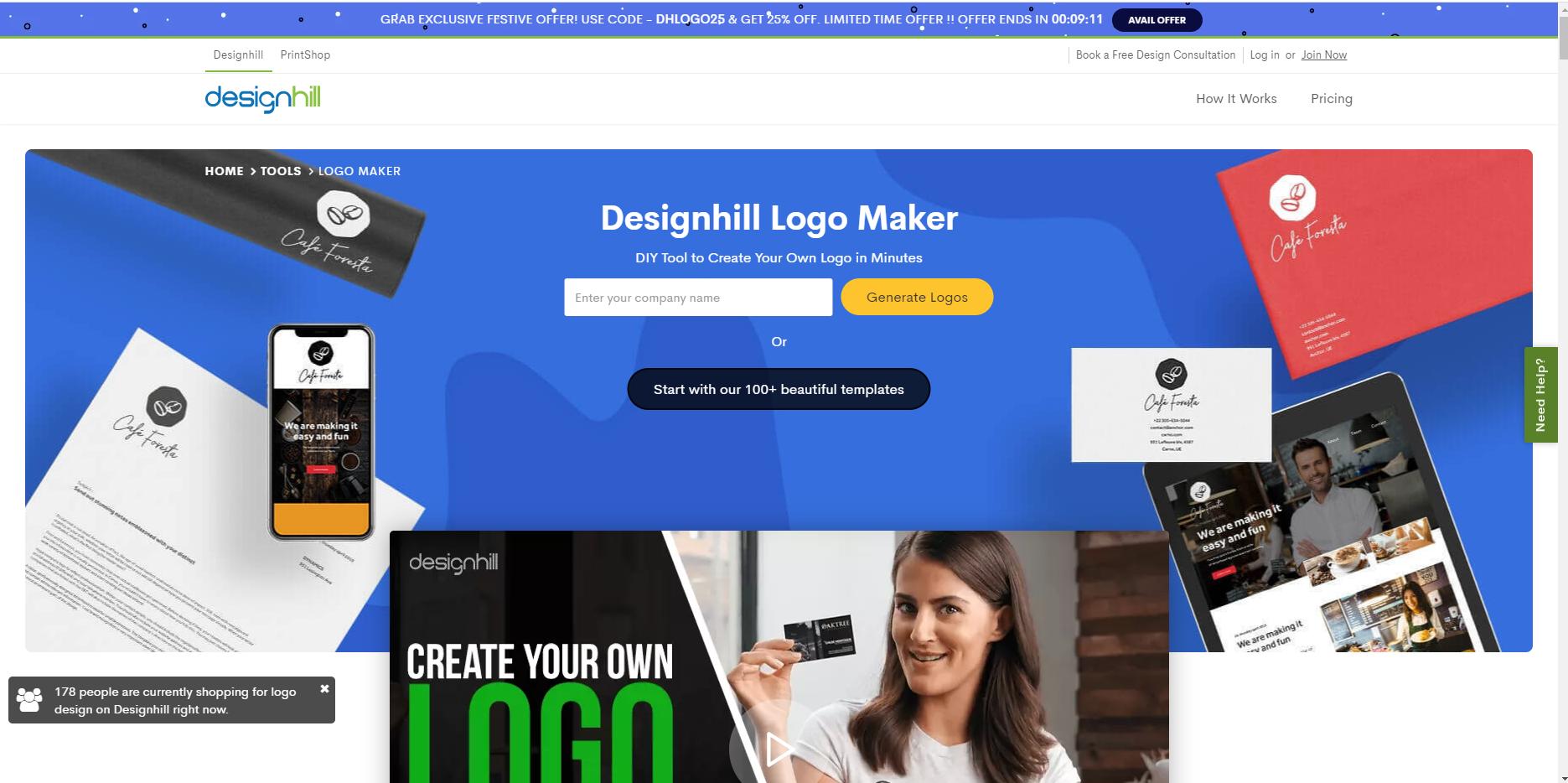 Công cụ thiết kế logo - Designhill Logo Maker